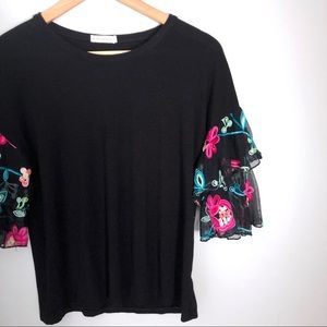 Pebble and Stone Black Top with Flower Sleeves